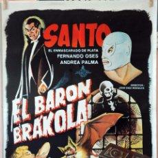 Cine: EL BARÓN BRÁKOLA-EL ENMASCARADO DE PLATA. CARTEL ORIGINAL 1967. 70X100. Lote 96688743