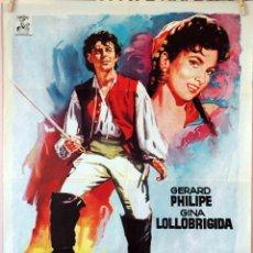 Cine: FAN FAN LA TULIPE. GINA LOLLOBRIGIDA-CHRISTIAN JAQUE. CARTEL ORIGINAL 1965. 70X100. Lote 96689779
