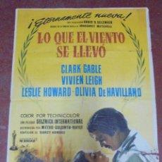 Cine: CARTEL. LO QUE EL VIENTO SE LLEVO. 1961. CLARK GABLE, VIVIEN LEIGH. 100 X 70CM. Lote 97026195
