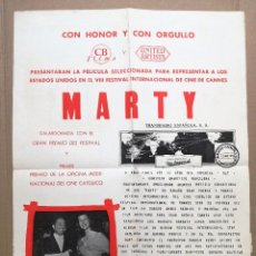 Cine: MARTY - ERNEST BORGNINE, BETSY BLAIR - - CB FILMS, UNITED ARTISTS.CARTEL DE PUBLICIDAD PARA CINES . Lote 97680567