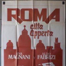 Cine: (N22) ROMA CITTA APPERTA, ANA MAGNANI,ALDO FABRIZI,FEDERICO FELLINI, CARTEL DE CINE ORIGINAL 100X70. Lote 247345395