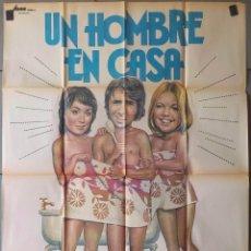 Cine: (N28) UN HOMBRE EN CASA, RICHARD OSULLIVAN, PAULA WILCOX, SALLY THOMSETT, CARTEL DE CINE ORIGINAL 1. Lote 243012415