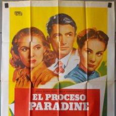 Cine: (N32) EL PROCESO PARADINE, ALFRED HITCHCOCK,GREGORY PECK,ALIDA VALLI, CARTEL DE CINE ORIGINAL 100X70. Lote 195033752