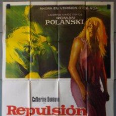 Cine: (N44) REPULSION, ROMAN POLANSKI,CATHERINE DENEUVE,IAN HENDRY,JANO, CARTEL DE CINE ORIGINAL 100X70 CM. Lote 98071783