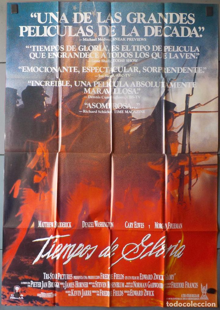 (N69) TIEMPOS DE GLORIA, MATTHEW,BRODERICK,DENZEL WASHINGTON MORGANFREEMAN, CARTEL DE CINE ORIGINAL (Cine - Posters y Carteles - Bélicas)