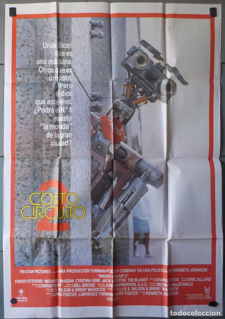 (N75) CORTOCIRCUITO 2, FISHER STEVENS,MICHAEL MCKEAN, CARTEL DE CINE ORIGINAL 100X70 CM APROX (Cine - Posters y Carteles - Infantil)
