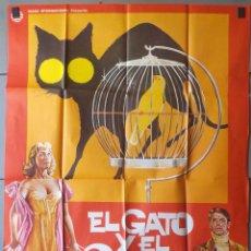 Cine: (N96) EL GATO Y EL CANARIO, RADLEY METZGER,EDWARD FOX,MAC, CARTEL DE CINE ORIGINAL 100X70 CM APROX. Lote 137223768