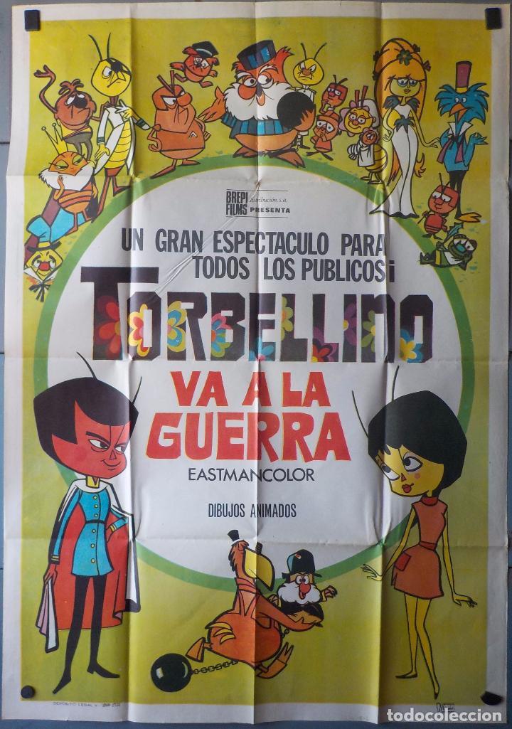 (N104) TORBELLINO VA A LA GUERRA, DIBUJOS ANIMADOS, CARTEL DE CINE ORIGINAL 100X70 CM APROX (Cine - Posters y Carteles - Infantil)