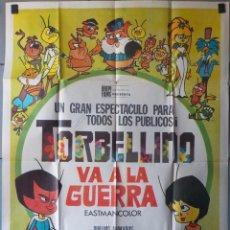 Cine: (N104) TORBELLINO VA A LA GUERRA, DIBUJOS ANIMADOS, CARTEL DE CINE ORIGINAL 100X70 CM APROX. Lote 219573000