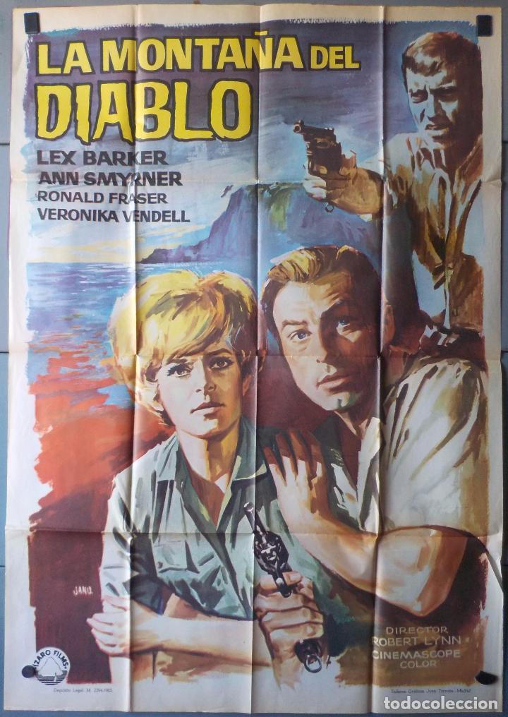 (N108) LA MONTAÑA DEL DIABLO, LEX BARKER,JANO, CARTEL DE CINE ORIGINAL 100X70 CM APROX (Cine - Posters y Carteles - Acción)
