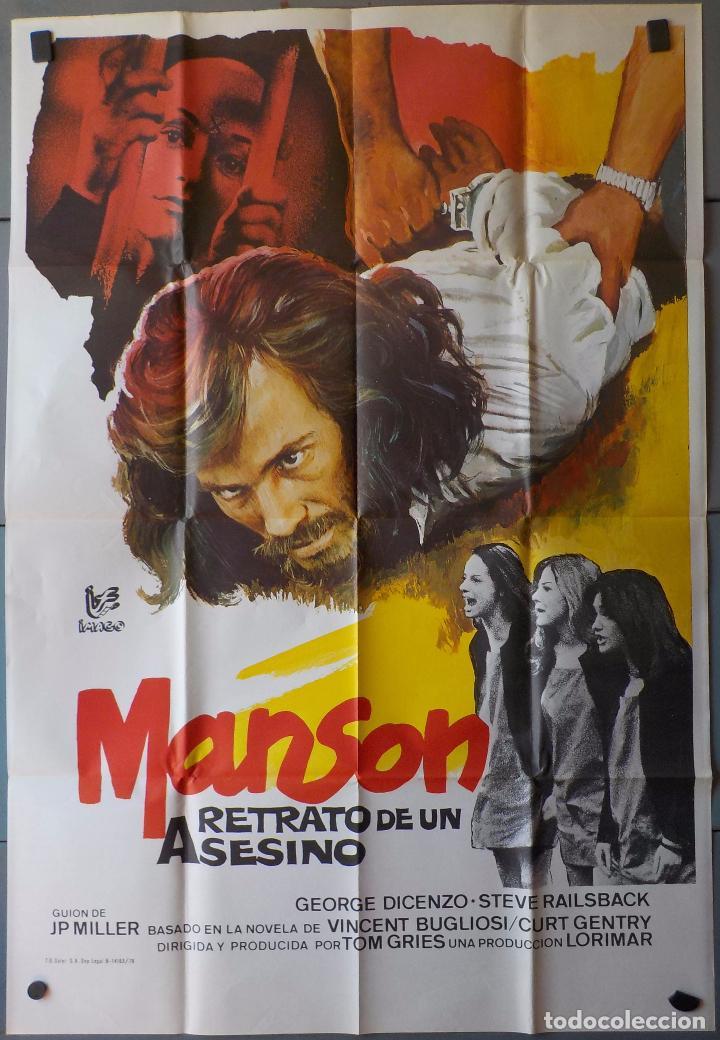 (N124) MANSON,RETRATO DE UN ASESINO, TOM GRIES,GEORGE DICENZO, CARTEL DE CINE ORIGINAL 100X70 CM APR (Cine - Posters y Carteles - Terror)