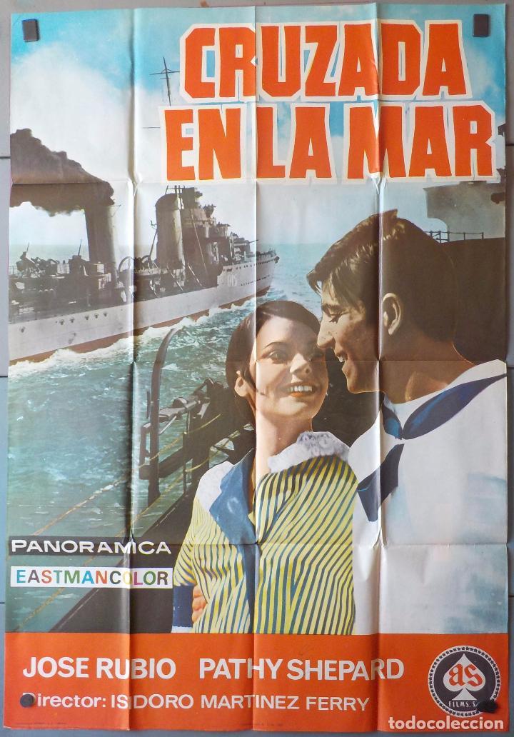 (N164) CRUZADA EN LA MAR, JOSE RUBIO PATTY SHEPARD, CARTEL DE CINE ORIGINAL 100X70 CM APROX (Cine - Posters y Carteles - Clasico Español)