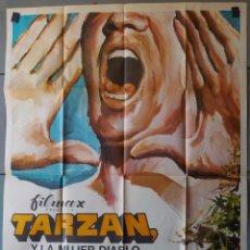 Cine: (N186) TARZAN Y LA MUJER DIABLO, LEX BARKER,JOICE MACKENZIE,MCP, CARTEL DE CINE ORIGINAL 100X70 CM A. Lote 253800945