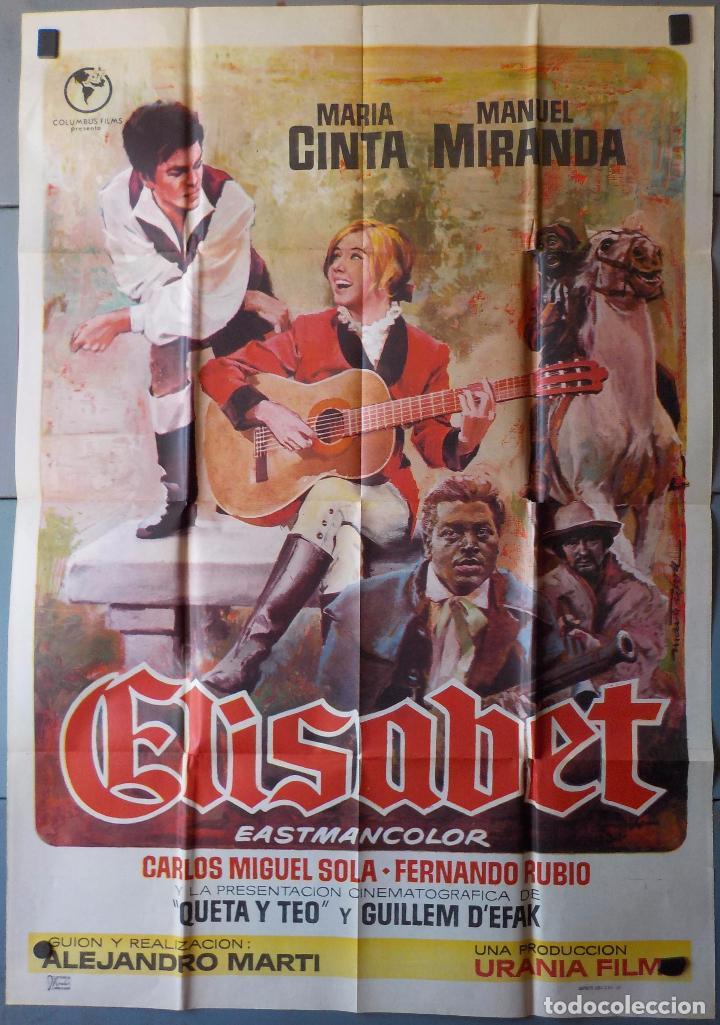 (N215) ELISABET, MARIA CINTA,MANUEL MIRANDA, CARTEL DE CINE ORIGINAL 100X70 CM APROX (Cine - Posters y Carteles - Clasico Español)