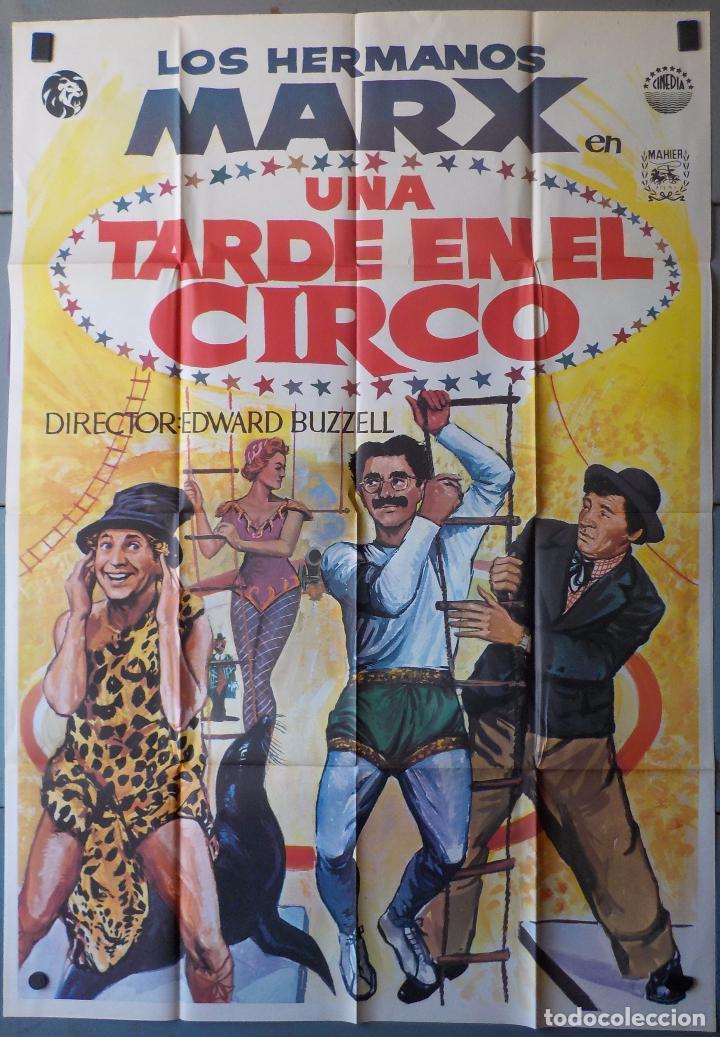 (N222) UNA TARDE EN EL CIRCO, HERMANOS MARX, CARTEL DE CINE ORIGINAL 100X70 CM APROX (Cine - Posters y Carteles - Comedia)