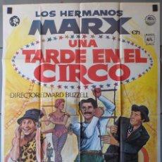 Cine: (N222) UNA TARDE EN EL CIRCO, HERMANOS MARX, CARTEL DE CINE ORIGINAL 100X70 CM APROX. Lote 282236788