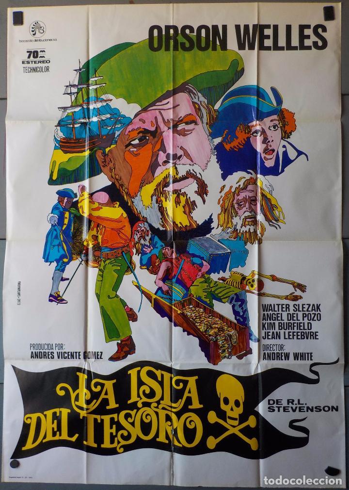 (N224) LA ISLA DEL TESORO, ORSON WELLES, CARTEL DE CINE ORIGINAL 100X70 CM APROX (Cine - Posters y Carteles - Aventura)