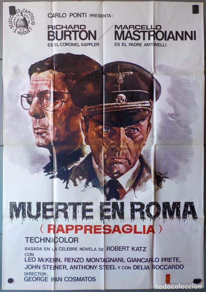 (N360) MUERTE EN ROMA, RICHARD BURTON,MARCELLO MASTROIANI, CARTEL DE CINE ORIGINAL 100X70 CM APROX (Cine - Posters y Carteles - Bélicas)