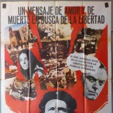 Cine: (N322) EL CHE GUEVARA, FRANCISCO RABAL,JOHN IRELAND, CARTEL DE CINE ORIGINAL 100X70 CM APROX. Lote 195016777