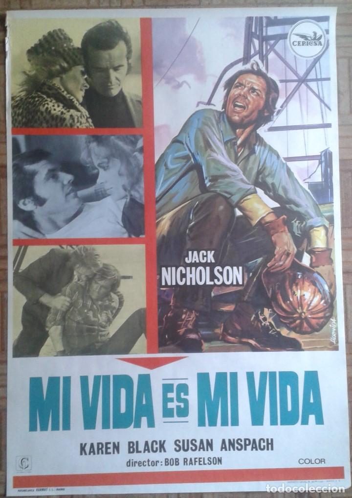 MI VIDA ES MI VIDA. POSTER ESTRENO 70X100. JACK NICHOLSON, KAREN BLACK (Cine- Posters y Carteles - Drama)
