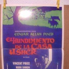 Cine: CARTEL CINE ORIG EL HUNDIMIENTO DE LA CASA USHER (1960) 36X50 / ROGER CORMAN / VINCENT PRICE. Lote 100099543
