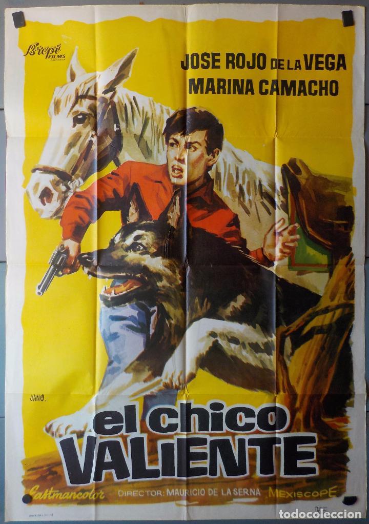 (N263) EL CHICO VALIENTE, JOSE ROJO DE LA VEGA,MARINA CAMACHO,JANO, CARTEL DE CINE ORIGINAL 100X70 C (Cine - Posters y Carteles - Clasico Español)