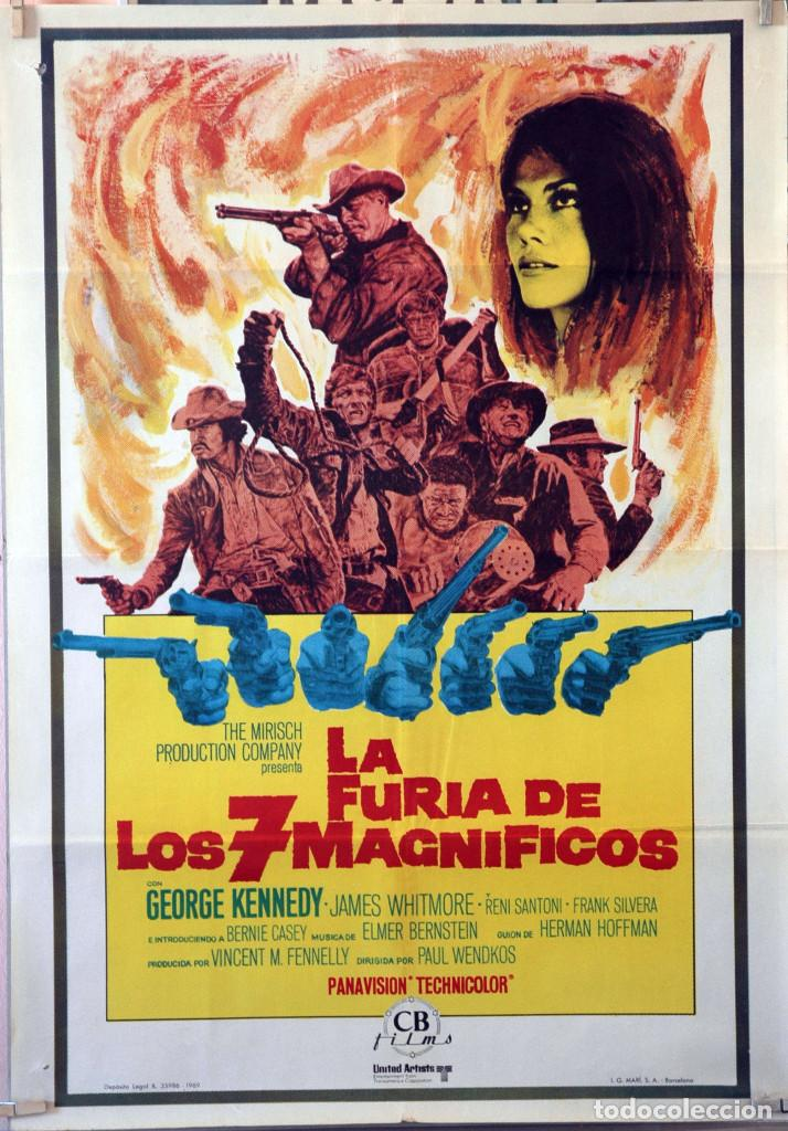 LA FURIA DE LOS SIETE MAGNÍFICOS. GEORGE KENNEDY. CARTEL ORIGINAL 1969. 100X70 (Cine - Posters y Carteles - Westerns)