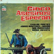 Cine: CINCO ASESINOS ESPERAN. CARTEL ORIGINAL 1965. 70X100. Lote 100352831
