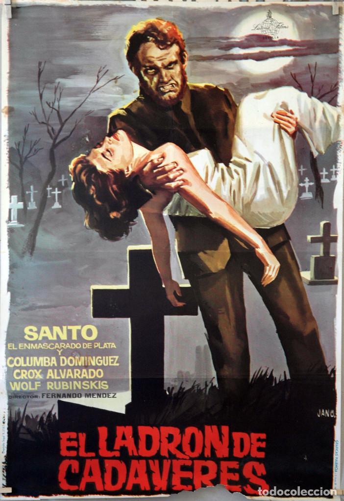 EL LADRÓN DE CADÁVERES. SANTO EL ENMASCARADO DE PLATA, CARTEL ORIGINAL 1965. 70X100 (Cine - Posters y Carteles - Terror)