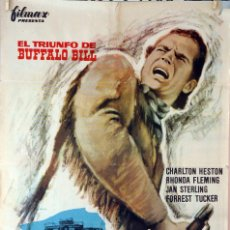 Cine: EL TRIUNFO DE BUFFALO BILL. CHARLTON HESTON. CARTEL ORIGINAL 1964. 70X100. Lote 101222043