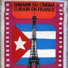 Cine: CARTEL POSTER CINE CUBANO, SEMANA DEL CINE EN FRANCIA 1986 , CUBA, SERIGRAFIA ,ORIGINAL ,UL. Lote 101303611
