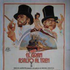 Cine: CARTEL CINE, EL PRIMER GRAN ASALTO AL TREN. SEAN CONNERY, D. SUTHERLAND, 1978 POSTER ORIGINAL 100X70. Lote 101424003