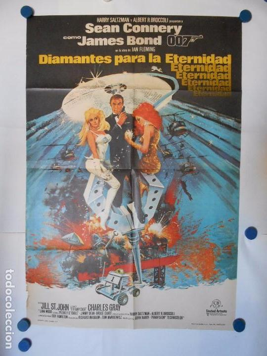 DIAMANTES PARA LA ETERNIDAD - 007 JAMES BOND SEAN CONNERY - CARTEL ORIGINAL 1971 - 70 X 100 (Cine - Posters y Carteles - Aventura)
