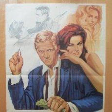 Cine: CARTEL CINE, EL REY DEL JUEGO, STEVE MCQUEEN, EDWARD G. ROBINSON, 1965, C1095. Lote 101443851