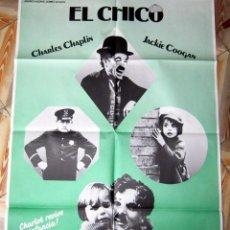 Cine: CHARLES CHAPLIN CHARLOT EL CHICO THE KID CARTEL POSTER ESPAÑOL GRAN FORMATO 70X100. Lote 102954135