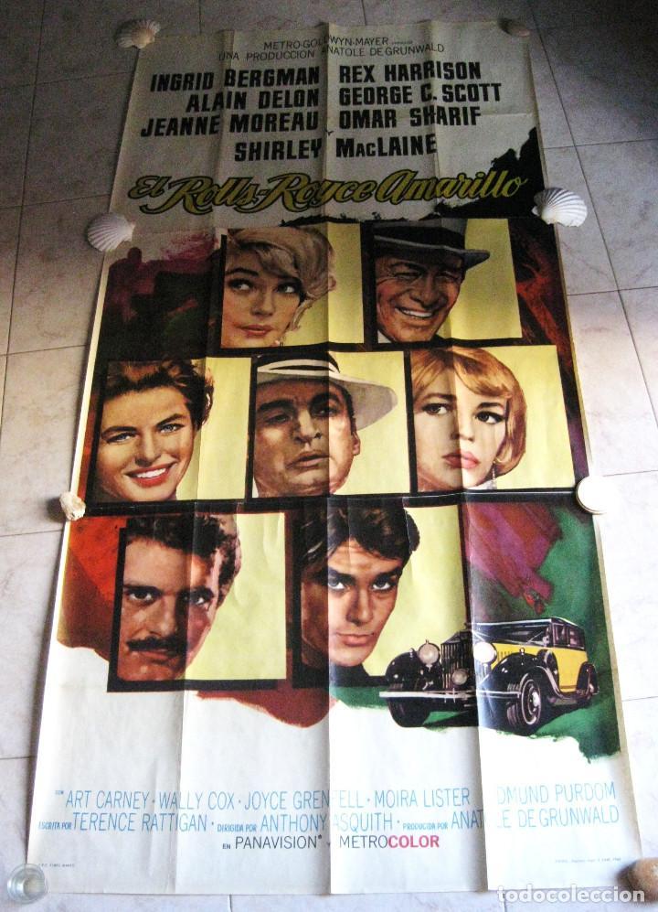 EL ROLLS ROYCE AMARILLO. INGRID BERGMAN, SHIRLEY MACLAINE, ALAIN DELON. 1965 POSTER 3 PIEZAS (Cine - Posters y Carteles - Comedia)