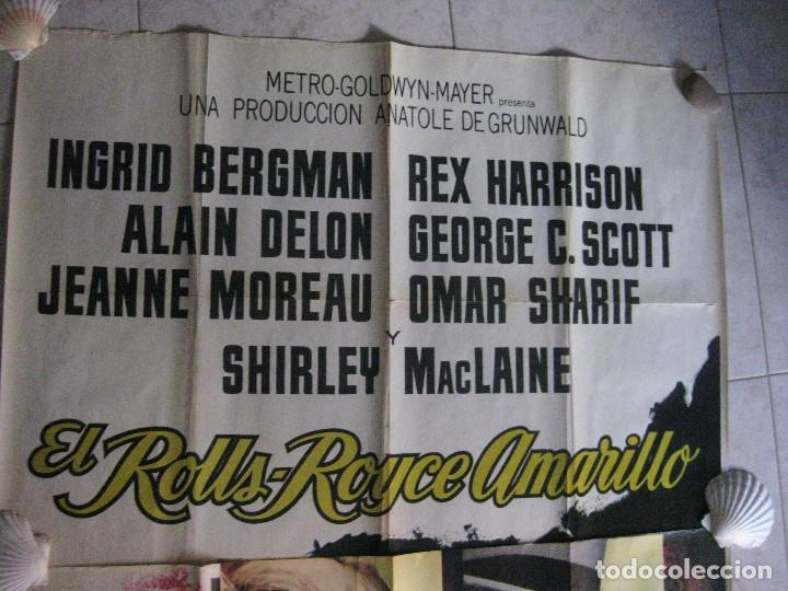 Cine: EL ROLLS ROYCE AMARILLO. INGRID BERGMAN, SHIRLEY MACLAINE, ALAIN DELON. 1965 POSTER 3 PIEZAS - Foto 12 - 103028967