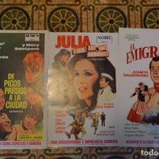 Cine: TRES POSTERS PROMOCIONALES VHS EL EMIGRANTE,JULIA Y EL CELACANTO Y DE PICOS PARDOS POR LA CIUDAD.. Lote 103376663