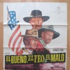 Cine: CARTEL CINE, EL BUENO, EL FEO Y EL MALO, CLINT EASTWOOD, LEE VAN CLEEF, 1968, BALONGA CASSAR, C1201. Lote 103620799
