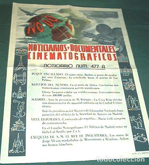 Cine: AÑOS 40, CARTEL DEL NODO. CINE. INFORMATIVO DEL NOTICIARIO UNIVERSAL. - Foto 2 - 103624327