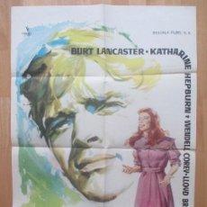 Cine: CARTEL CINE, EL FARSANTE, BURT LANCASTER, KATHARINE HEPBURN, MONTALBAN, 1960, C1206. Lote 103628623