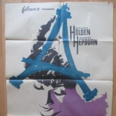 Cine: CARTEL CINE, ENCUENTRO EN PARIS, AUDREY HEPBURN, WILLIAM HOLDEN, 1964, MCP, C1004. Lote 103630255