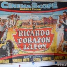 Cine: RICARDO CORAZON DE LEON - ORIGINAL ARGENTINO LITOGRAFICO - 140 - 100 EN DOS PIEZAS. Lote 103914327