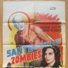 Cine: CARTEL CINE, SANTO CONTRA LOS ZOMBIES, ARMANDO SILVESTRE, LORENA VELAZQUEZ, 1964, C1211. Lote 103990183