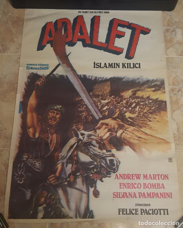 POSTER ORIGINAL TURCO DE LA PELICULA ADALET AKA LA ESPADA DEL ISLAM (Cine - Posters y Carteles - Bélicas)