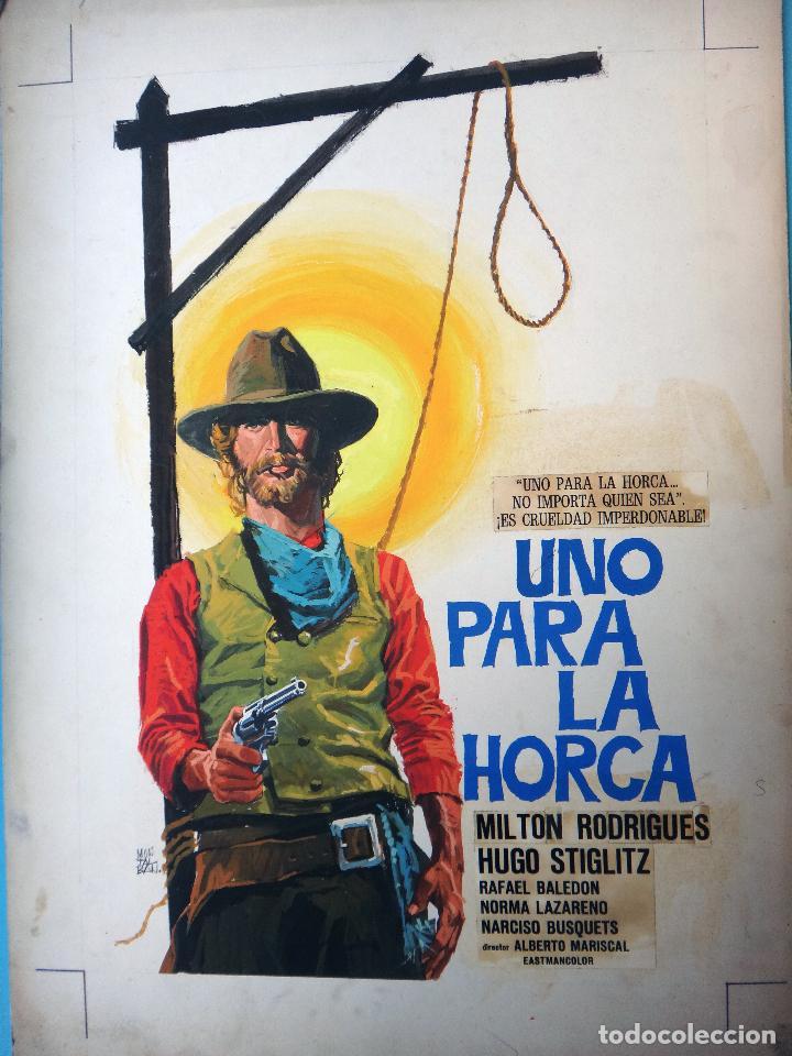 CARTEL CINE, UNO PARA LA HORCA , PINTADO A MANO , PINTURA, DIBUJO ORIGINAL MONTALBAN , ANTIGUO. (Cine - Posters y Carteles - Westerns)