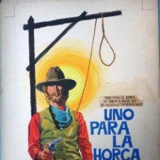 Cine: CARTEL CINE, UNO PARA LA HORCA , PINTADO A MANO , PINTURA, DIBUJO ORIGINAL MONTALBAN , ANTIGUO.. Lote 105188283