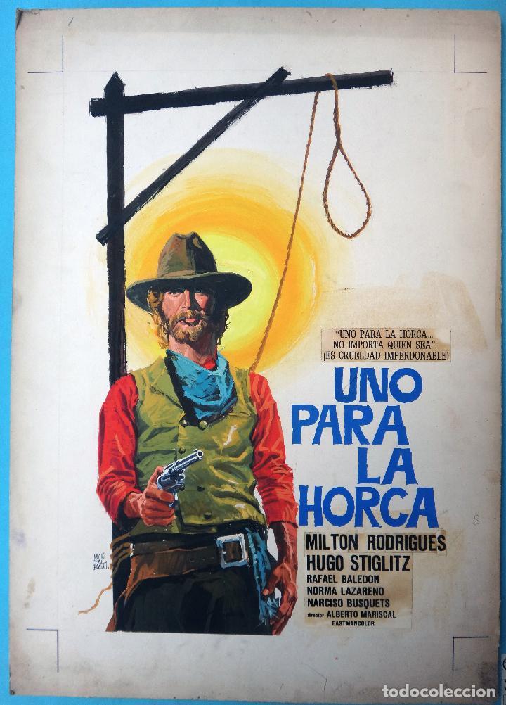 Cine: CARTEL CINE, UNO PARA LA HORCA , PINTADO A MANO , PINTURA, DIBUJO ORIGINAL MONTALBAN , ANTIGUO. - Foto 2 - 105188283