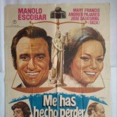 Cine: CARTEL CINE, ME HAS HECHO PERDER EL JUICIO, MANOLO ESCOBAR, PAJARES, SAZA, 1973 POSTER ORIGINAL C-92. Lote 195242152