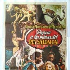 Cinéma: CARTEL CINE, REGRESO A LAS MINAS DEL REY SALOMON, GEORGE MONTGOMERY, 1975 POSTER ORIGINAL C-106. Lote 105314711